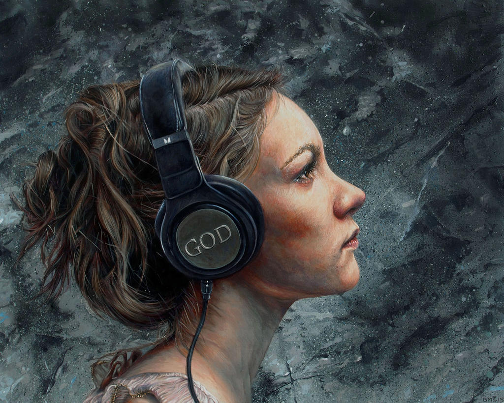 Woman listening to headphones that say GOD - Listen 4 by Brent Schreiber