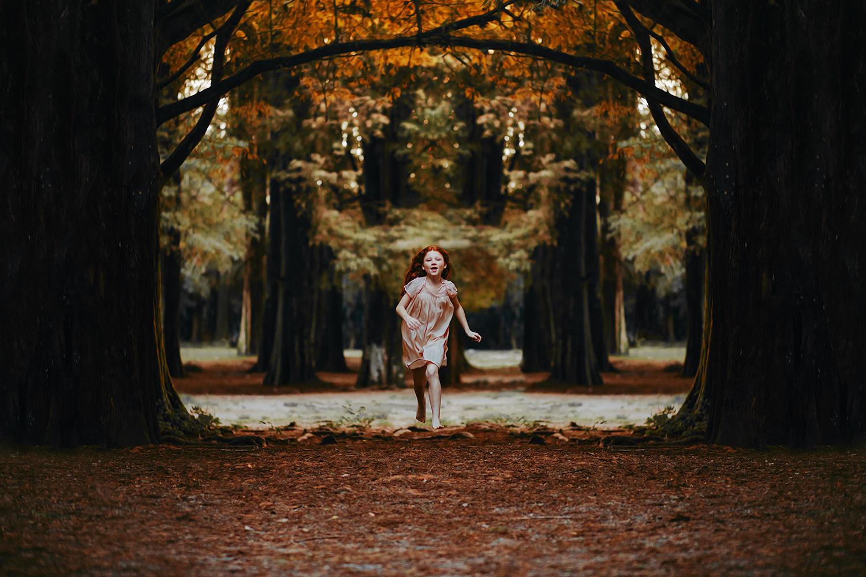 Girl running in dark forest by Matheus Bertellia via Pexels